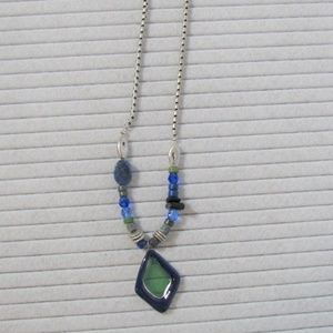 Chico's Necklace Blue Green Silver Beads 11""